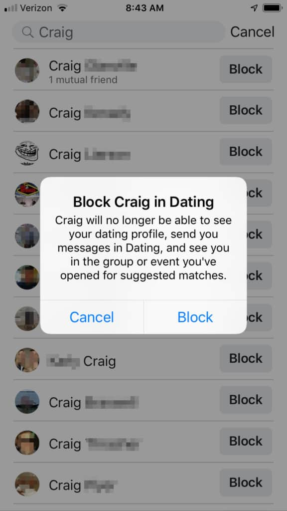 Facebook Dating Block