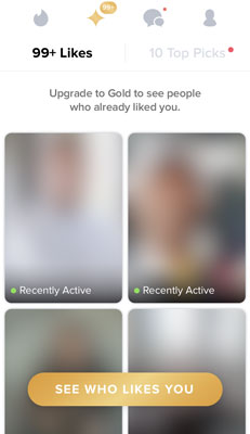 Tinder Gold Perk - see who likes you