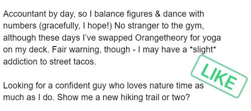 Good dating app bio example for girls